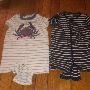 Ralph Lauren 9 and 12 month romper bundle